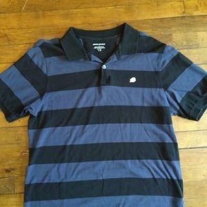 Banana Republic LG Striped Blue Black Polo Shirt